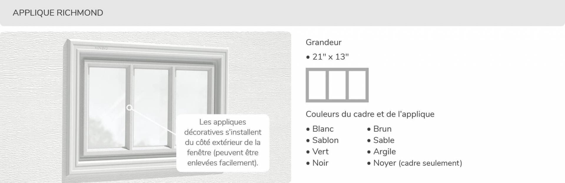 Applique Richmond, 21' x 13', disponible pour la porte R-16